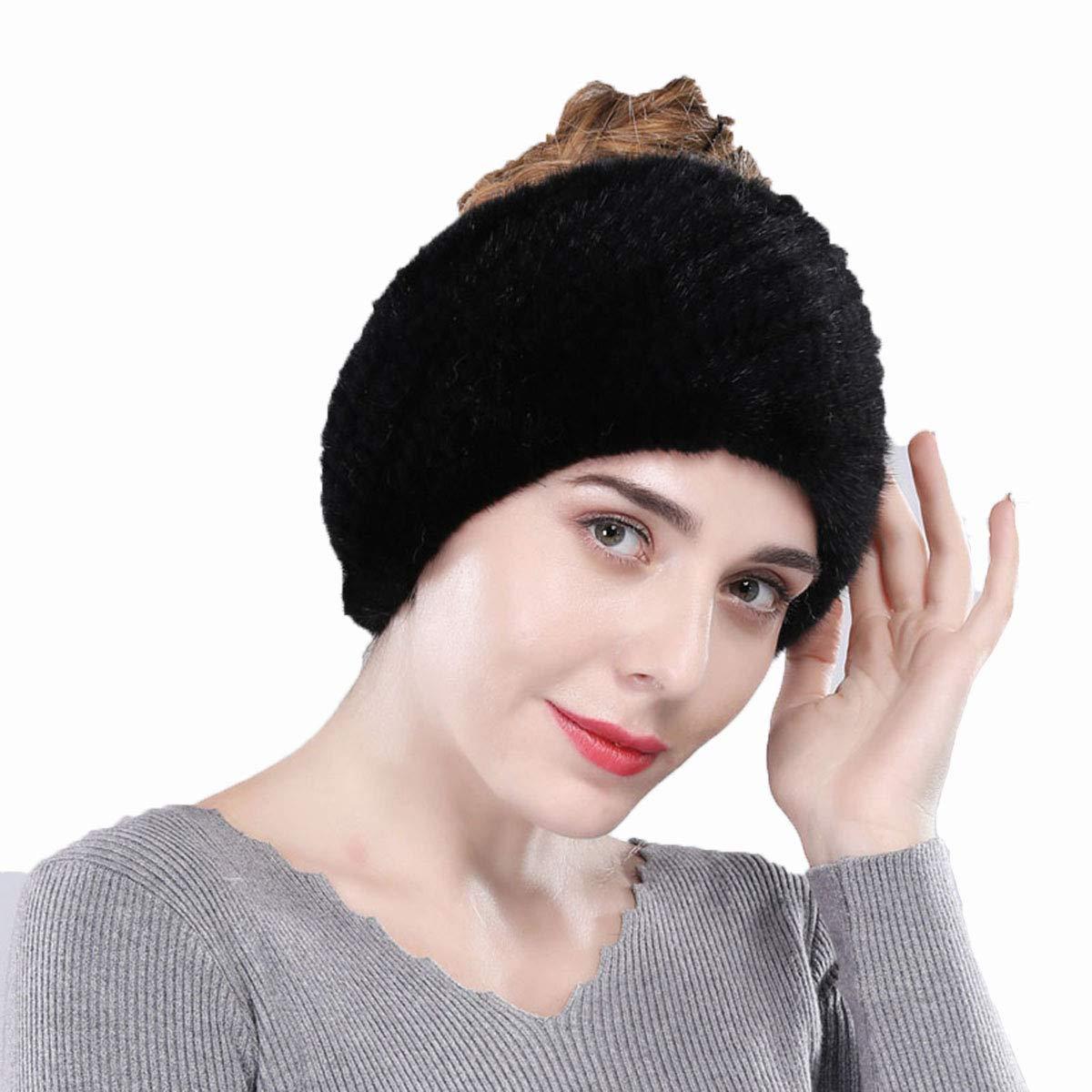 Fur Scarf Genuine Mink Fur Headband Women High Elasticity Knit Headwrap Neck Warmer (Black)