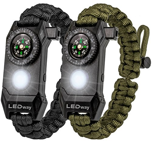 A2S Protection LEDway Paracord Bracelet Survival Gear Kit - with Embedded Compass LED Light Fire Starter Emergency Knife & Whistle (Black/Green Adjustable Size)