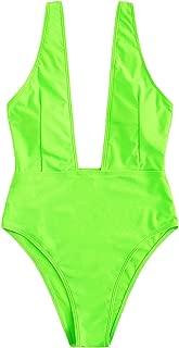 Women's Sexy Bathing Suits Basic Deep V High Waist Swimwear Open Back One Piece Swimwear