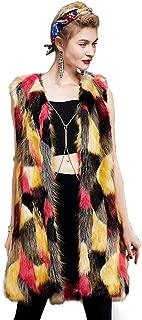 Women Fluffy Colorful Faux Fox Fur Coat Fashion Autumn Winter Warm Vest,A,S