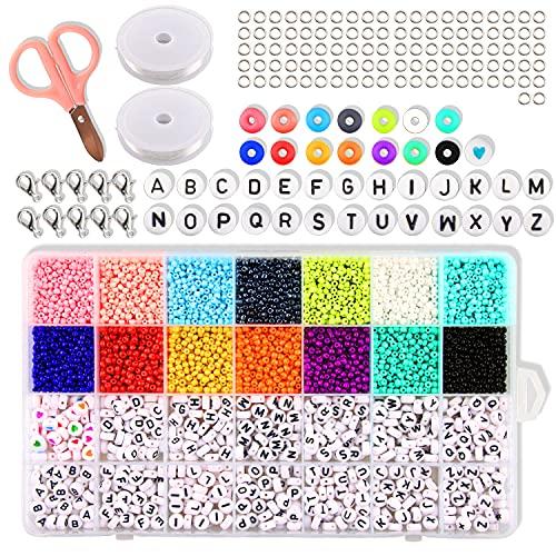 Esportic Cuentas de Colores 3mm 5800Piezas Mini Cuentas y Abalorios Cristal para...