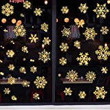 Movein 147 pegatinas para ventana de Navidad, diseño de copos de nieve, reutilizables, de PVC, para decoración navideña, puertas, escaparates, vitrinas, frontales de cristal, color dorado