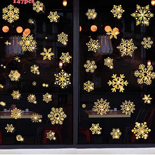 Movein Fensterbilder Weihnachten,147 Pcs Schneeflocken Fenstersticker Wiederverwendbar PVC Aufkleber für Weihnachts-Fenster Dekoration, Türen,Schaufenster, Vitrinen, Glasfronten. (Gold)