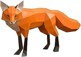 彫刻 置物・オブジェ フォックス彫刻3D折り紙紙モデルDIYフォックス紙工芸品像動物の壁に取り付けられた手作り創造的な装飾玩具コレクション 工芸品の彫刻