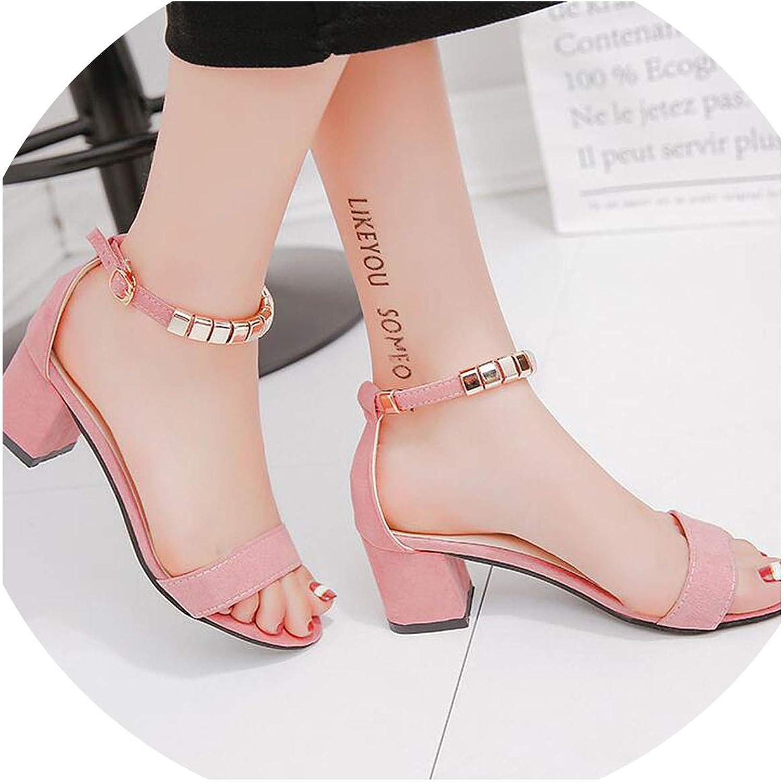 JIESENGTOO Metal String Bead Summer Women Sandals Open Toe Square Heel Korean Style Gladiator