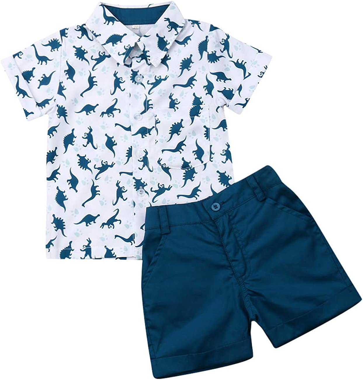 Toddler Baby Boy Flamingo Print Clothes Short Sleeve Button Down T-Shirts Shorts Set Kids 2Pcs Summer Outfits