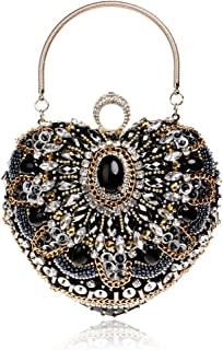 DIEBELLAU Heart-Shaped Beaded Evening Bag Ladies Luxury Dress Clutch (Color : Black, Size : XS)