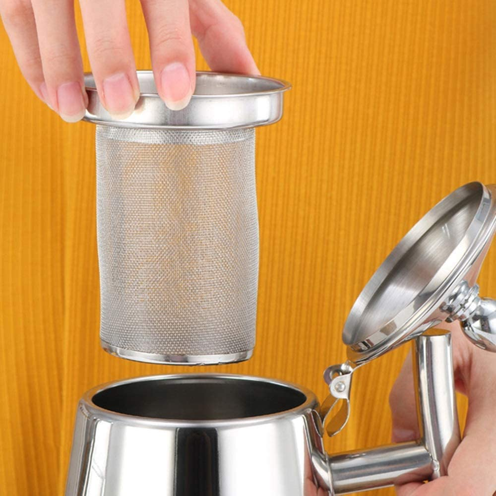 cafe steel kettle for steel teapot with strainer suitable for home Chen Stainless steel teapot for warmer Color : Gold, Size : 1L bar and restaurant hotel
