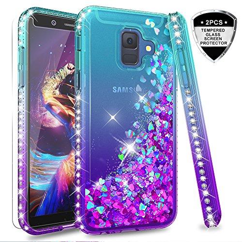 LeYi Compatible with Funda Samsung Galaxy A6 2018 Silicona Purpurina Carcasa con [2-Unidades Cristal Vidrio Templado],Transparente Cristal Bumper Telefono Fundas Case Cover para Movil A6 2018 ZX Azul