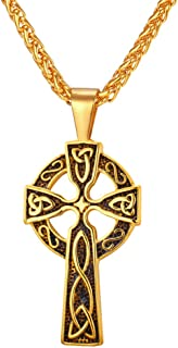 U7 Vintage Celtic Cross Necklace for Men Women Antique Knot Cross Pendant & Rope Chain, Free Personalized Engraving
