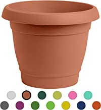 ALMI Carmel Round Planter 9 Inch, Plastic Rounded Pot For Garden, Elegant Shaped Flower Tree, Tapered Planters For Plants, Small Trees, UV Resistant Paint, Indoor & Outdoor, Terracotta