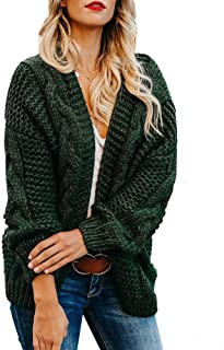 Yskkt Plus Size Womens Cardigan Sweaters Cable Knit Chunky Oversized Long Sleeve Fall Winter Cardigans