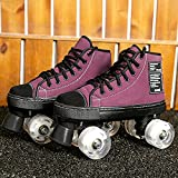 XJBHD Patines De Ruedas para Mujer Botas Patines 4 Ruedas Hombre Adulto Zapatos De Patinaje Led Patines para Niños Niñas Diseño Retro