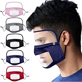 Washable, Reusable and Breathable, Face Bandanas with Detachable Eyes Shield (PVC), Cloth Covering for Face, Indoors and Outdoors, Full Protection, Anti-Haze Dust (Adults Size, 5PCS)