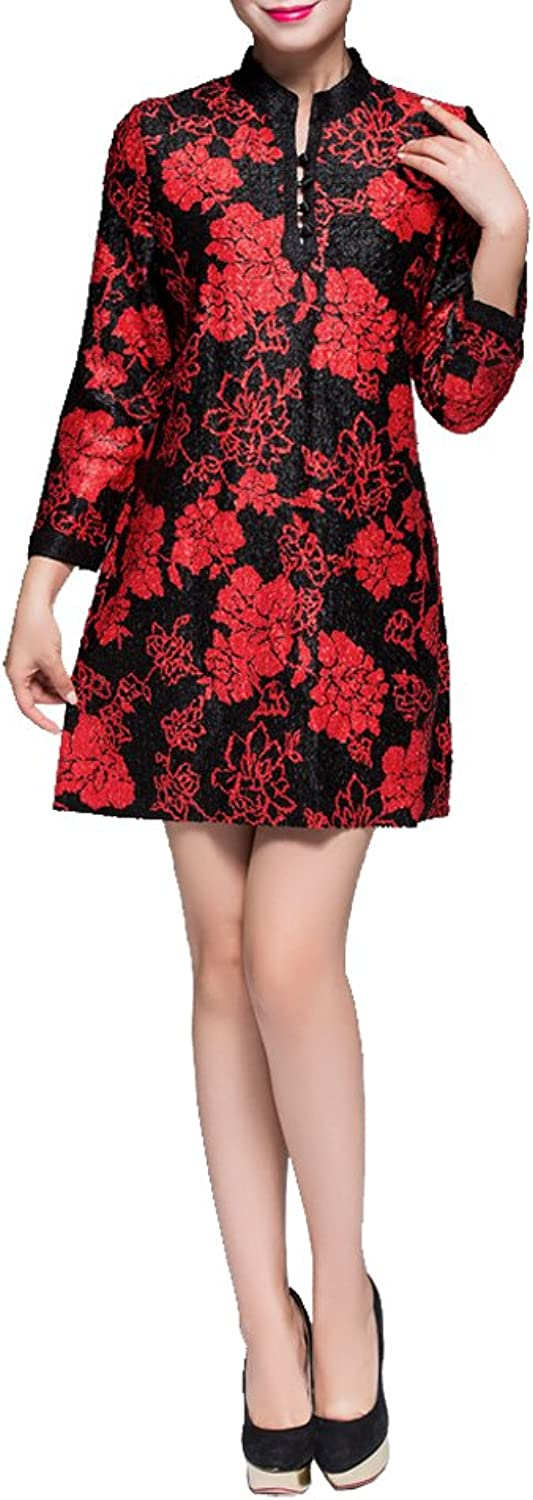 Bitabluee Womens Black Long Sleeves Tunic Tops with Red Flower Patterns