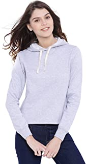 Campus Sutra Women Grey Crop Hoodie