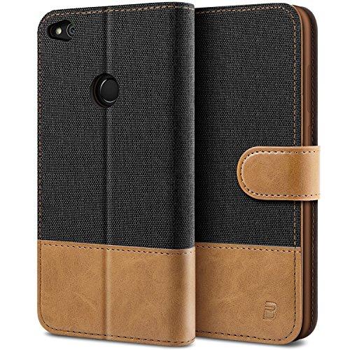 BEZ Hülle für Huawei P8 Lite 2017 Hülle, Handyhülle Kompatibel für Huawei P8 Lite 2017, Handytasche Schutzhülle Tasche [Stoff & PU Leder] mit Kreditkartenhaltern, Schwarz