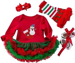 LvRao Baby Girls My 1st Christmas Costume Tutu Romper Shoes Leggings Headband Santa Outfit Set
