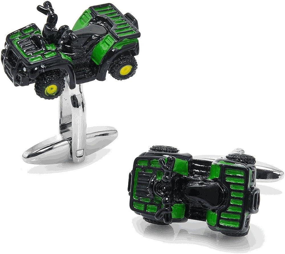Mens Executive Cufflinks Transportation Collection 3d Green Enamel ATV Off Road Car Cuff Links