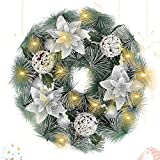 LessMo Christmas Wreath Decoration, Christmas Garland Ornament with 30 Led Lights, Artificial Christmas Wreaths with Balls Flowers and Pine Cones for Front Door Wall Tree Decoration Xmas Party