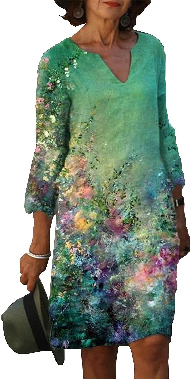 Blivener Linen Dresses for Women Casual Summer Plus Size V Neck Gauze Floral Print Knee Length Half Sleeve Shirt Dress