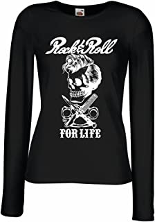 lepni.me Camisetas de Manga Larga para Mujer Rock and Roll For Life - 1960s, 1970s, 1980s - Banda de Rock Vintage - Musica...