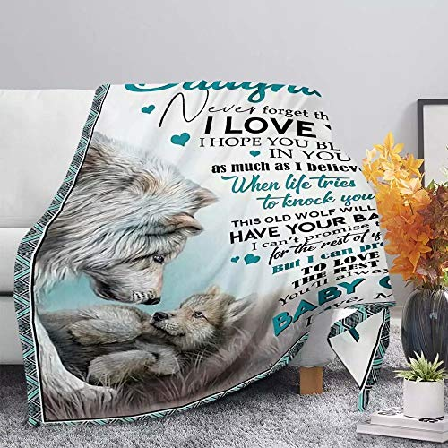 NDISTIN Bed Blanket Wolf Letter Design Bed Couch Throw Blanket Super Soft Lightweight Blanket Durable Cozy Home Office Air Conditioning Throw Blanket Family Best Gift for Couch Outdoor Camping, S
