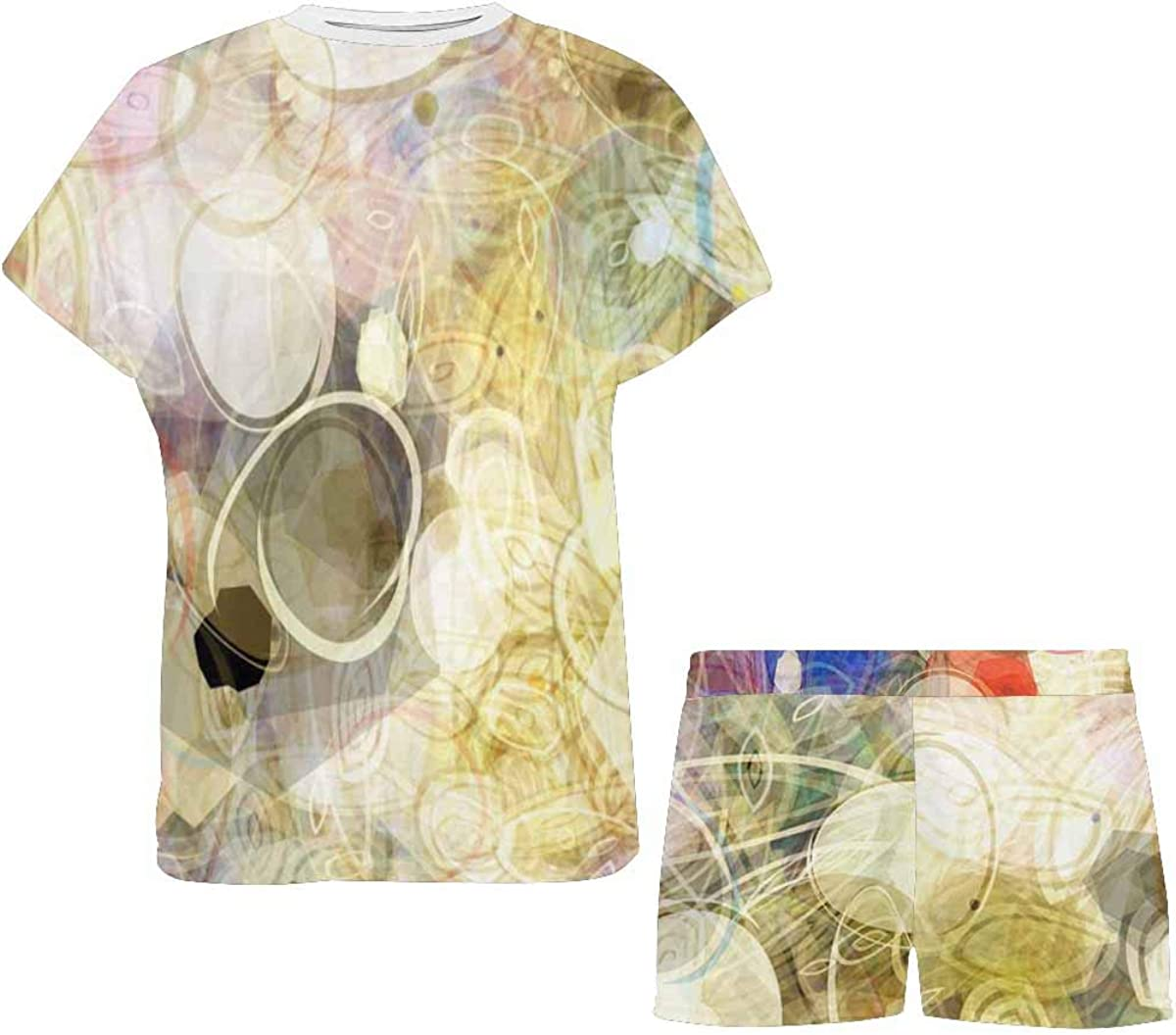 INTERESTPRINT Abstract Painting Pattern Women's Pajamas Short Sets Round Neck Short Sleeve Sleepwear