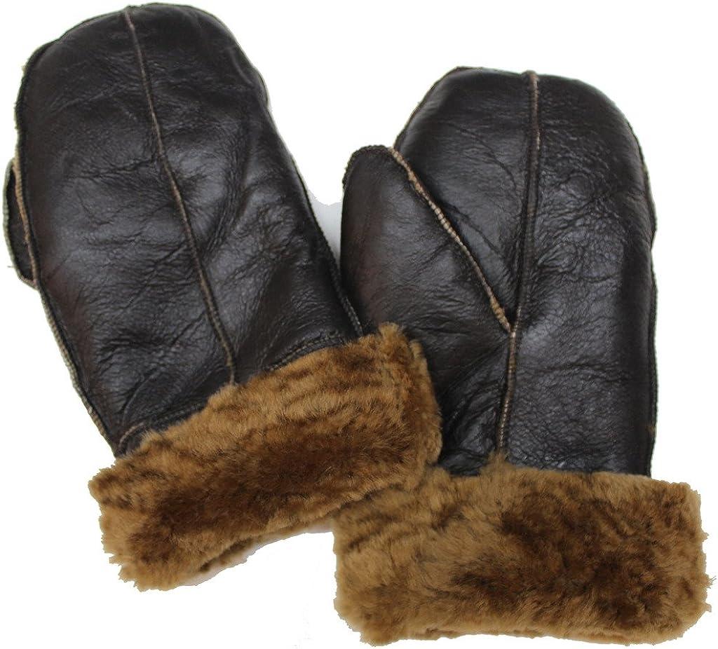 Unisex Dark Brown 100% Sheepskin Mittens with Ginger Fur