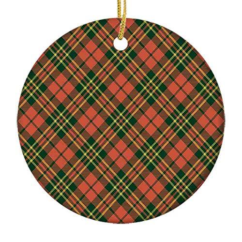 9 shbixmashdho Christmas Ornaments Irish Tartan Plaid Motifs in Christmas Colors Geometrical StripesCeramic Ornament Holiday Xmas Tree Decorations Ornament Cute Ceramic 2.85in