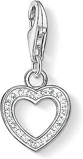 Thomas Sabo Femmes-Pendentif charm Coeur Charm Club Argent Sterling 925 Oxyde de Zirconium blanc 0930-051-14