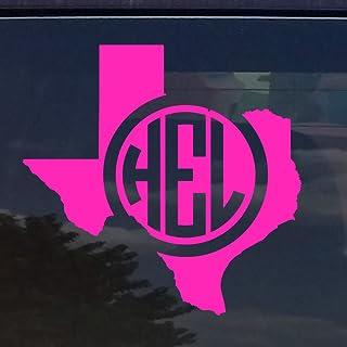 "TEXAS CUSTOM CIRCLE MONOGRAM INITIALS VINYL DECAL STICKER for CARS YETI CUP LAPTOP (5""x5"", Pink)"