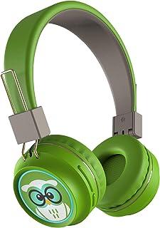 TinyGeeks ® Neo - Auriculares inalambricos con límite de Volumen - Certificación SGS 83 dB + Certificación CPSIA   Auriculares para niños con Control de Volumen - Verde