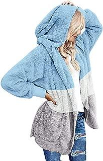 E-Scenery Women Casual Fuzzy Fleece Hooded Coat Cardigan Draped Pocket Open Front Outerwear