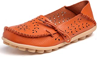 71594412d2a Lucksender Womens Hollow Out Carving Casual Leather Driving Flat Loafers  Shoes