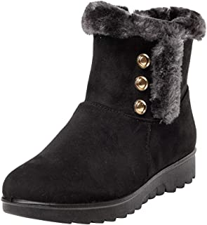 LONGDAY ⭐ Women's Ladies Winter Waterproof Martin Short Snow Boots Warm Flats Shoes Side Zipper Buckles Outdoor Slip On