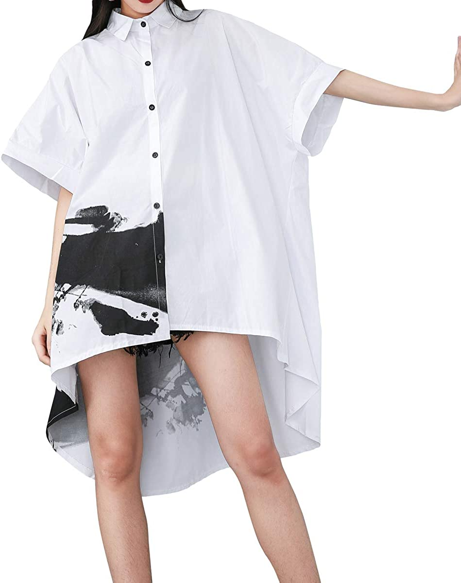ellazhu Women's Oversized Batwing Sleeves Button-Down High Low Top Shirt Dresses for Summer GY1827 A