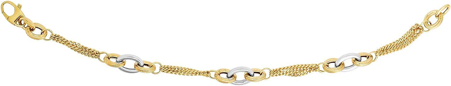 Discount is also underway excellence 14k Yellow Gold Triple Stranded Chain Gourmette 7.5