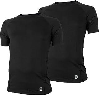 インナーシャツ メンズ 2枚組 メッシュ 半袖(クルーネック) Tシャツ スリーブレス(U首) やわらか肌着 アンダーウェア 吸汗速乾 快適 2カラー(白/黒)