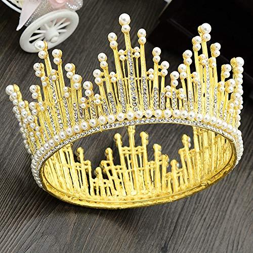 WSXEDC Tiaras Corona Mujer,Fairytale Princess Queen Crown Anillo De Perlas De Imitación Redondo Dorado Circonita Lujoso Diademas para Niñas Joyería para El Cabello Boda Nupcial Fiesta De Cump