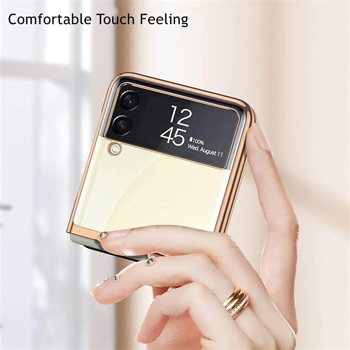 Apply to Z Flip 3 Case, Galaxy Z Flip 3 Case, Samsung Z Flip 3 Case, Clear Crystal Transparent Plating Case, Slim Case Designed, Ultra-Thin Fiber Leather Shockproof Protective Case (Clear-Gold)