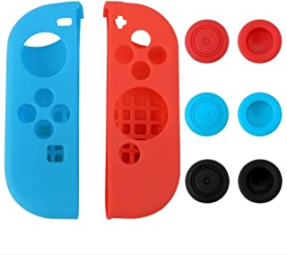 eXtremeRate Silicone Case Thumb Stick Caps Gel Guards for Nintendo Switch Joy-Con Controller Protector Protection Kits Left Blue Right Red