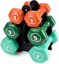 Crown Sporting Goods Set of 3 Pairs of Brightbells Vinyl Hex Hand Weights: Colorful, Tropical Coated Non-Slip Dumbbell Free Weight Sets - Home & Gym Equipment