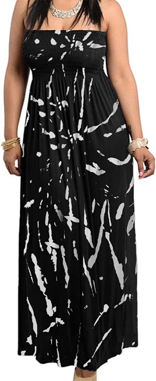 811 - Smocked Chest Strapless Tube Long Maxi Beach Cover-up Dress