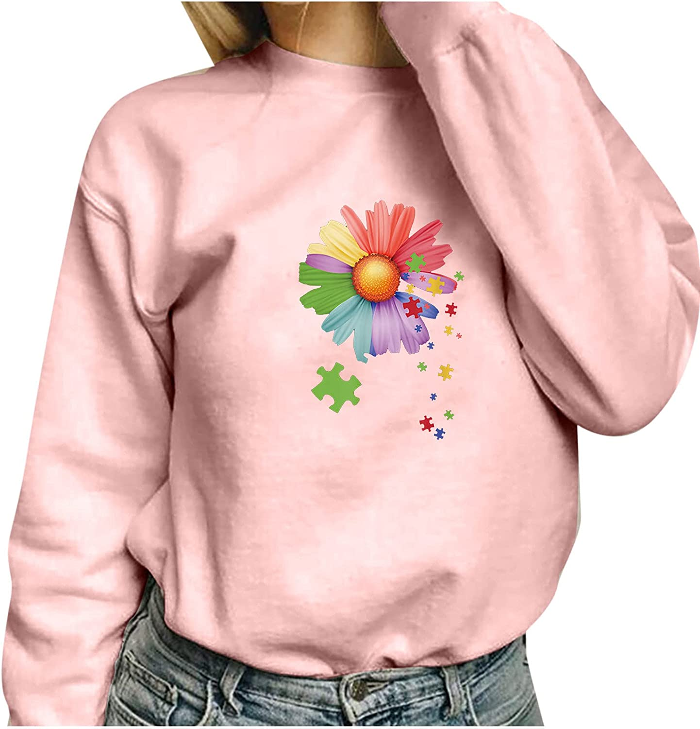 Happiness is a Butterfly Sweatshirts for Women Crew Neck Pullover Loose Fitting Long Sleeve Blouse