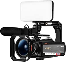 ORDRO AC5 Optical Zoom 4K Camcorder Ultra HD WiFi Video Camera, 3.1 Inch IPS Touch Screen, Microphone, Wide Lens, Hood, 2 Batteries, LED Light
