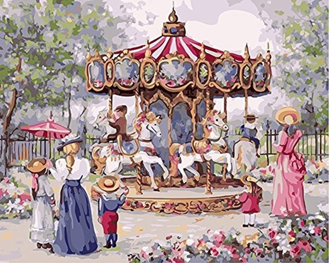 CaptainCrafts New Paint by Numbers 16x20 for Adults, Kids LINEN Canvas - Memories Of Childhood Carousel (With Frame)