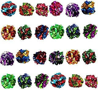 Sungrow Mylar Crinkle Balls for Cats, Soft, Lightweight & Fun Toy for Both Kittens & Grown-up Cats, Shiny & Stress Buster Toy, Interesting Crinkly Sounds, Safe for Your Kitty, 24 Pcs