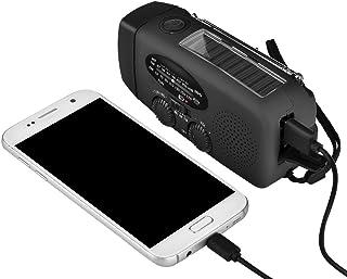 Fosa emergencia solar manivela de mano dinamo linterna LED de radio AM/FM/WB Weather Cargador portátil, Negro
