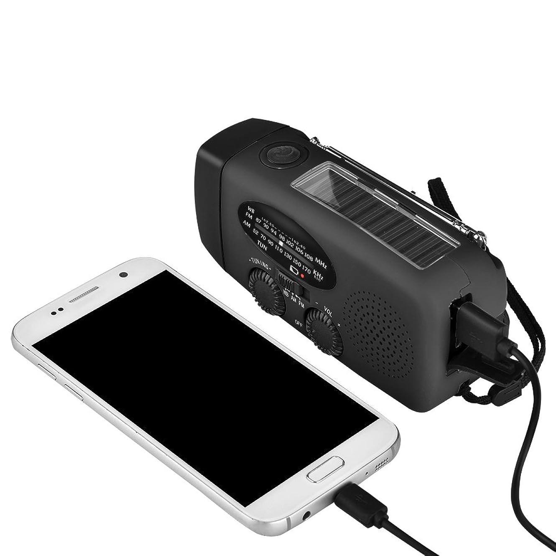 海洋マークされた民兵AM/FM/WB多機能ポケットラジオ 高輝度懐中電灯/緊急警報機能 携帯電話/デジタル機器の緊急電源 ハンドクランク発電機/USB充電/内蔵300mAh充電式電池 ソーラーパネル充電(Black)